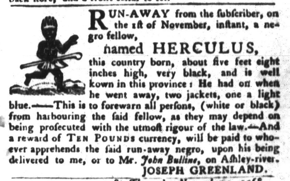 Nov 8 - South-Carolina Gazette and Country Journal Slavery 5