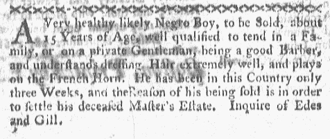 Oct 10 - Boston-Gazette Supplement Slavery 1