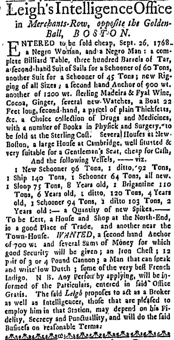 Oct 13 - Massachusetts Gazette Draper Slavery 1
