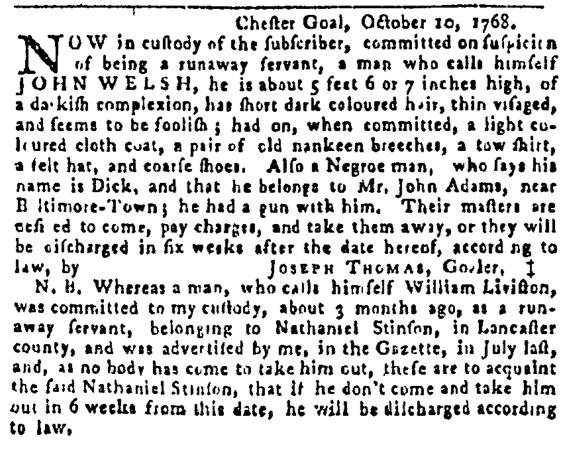 Oct 13 - Pennsylvania Gazette Postscript Slavery 1