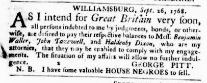 Oct 13 - Virginia Gazette Purdie and Dixon Slavery 1