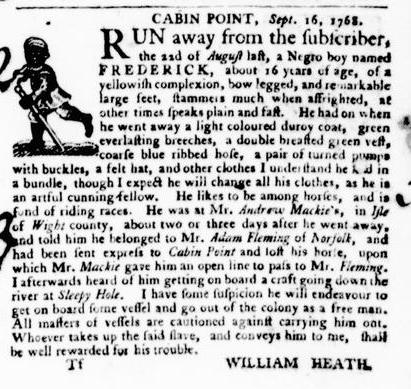 Oct 13 - Virginia Gazette Purdie and Dixon Slavery 6