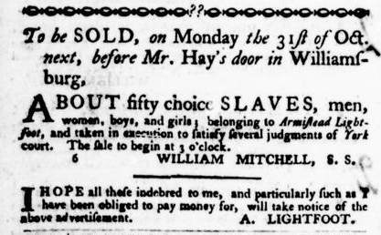 Oct 13 - Virginia Gazette Purdie and Dixon Slavery 7