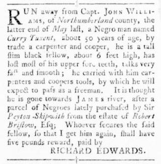 Oct 13 - Virginia Gazette Rind Slavery 12