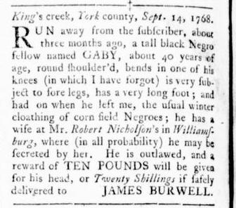 Oct 13 - Virginia Gazette Rind Slavery 14