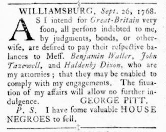 Oct 13 - Virginia Gazette Rind Slavery 3