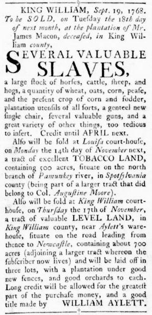 Oct 13 - Virginia Gazette Rind Slavery 5