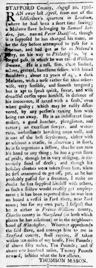 Oct 13 - Virginia Gazette Rind Slavery 9