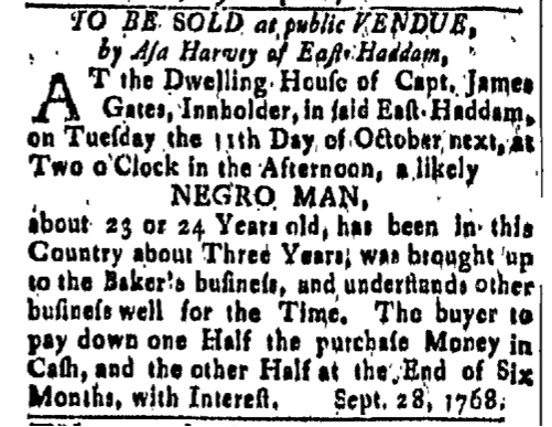 Oct 14 - New-London Gazette Slavery 1