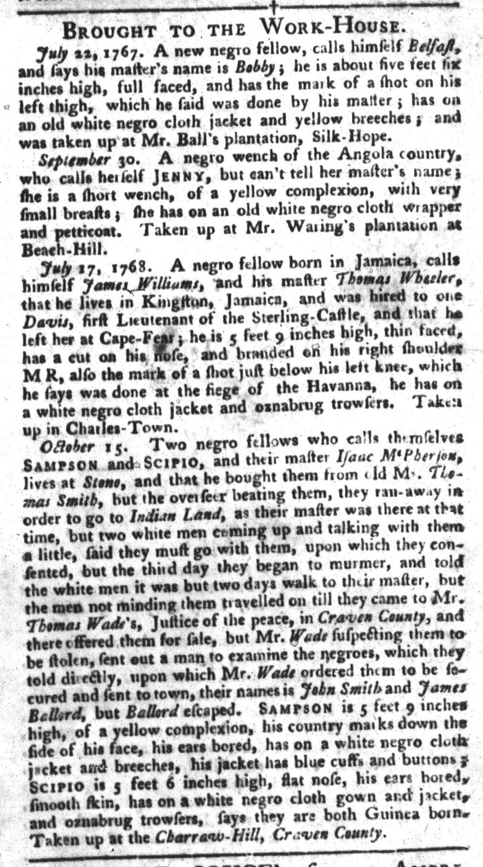 Oct 18 - South-Carolina Gazette and Country Journal Slavery 9