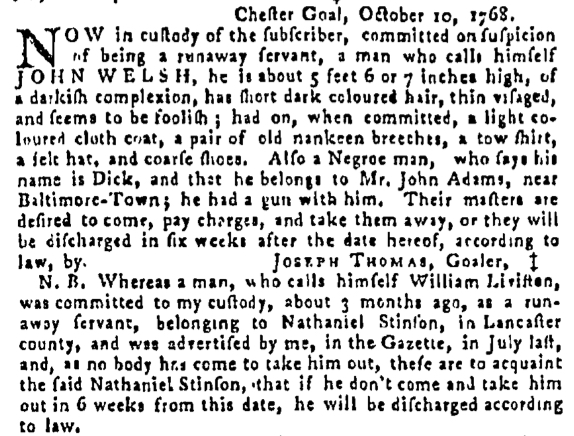 Oct 20 - Pennsylvania Gazette Supplement Slavery 1