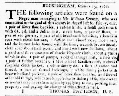 Oct 20 - Virginia Gazette Purdie and Dixon Slavery 1