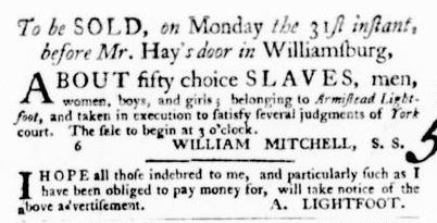Oct 20 - Virginia Gazette Purdie and Dixon Slavery 10