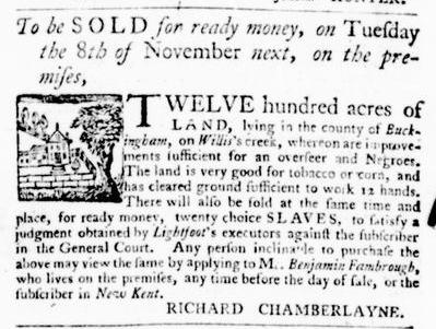 Oct 20 - Virginia Gazette Purdie and Dixon Slavery 2