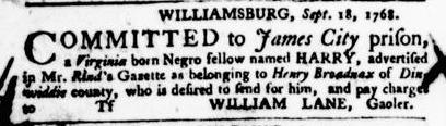Oct 20 - Virginia Gazette Purdie and Dixon Slavery 8