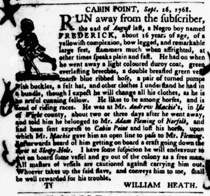 Oct 20 - Virginia Gazette Purdie and Dixon Slavery 9