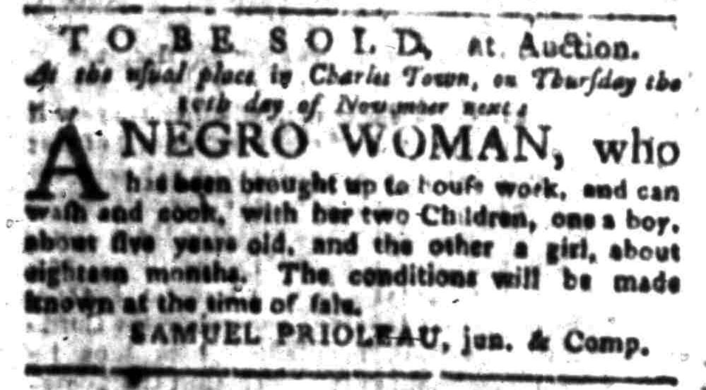 Oct 24 - South-Carolina Gazette Slavery 1
