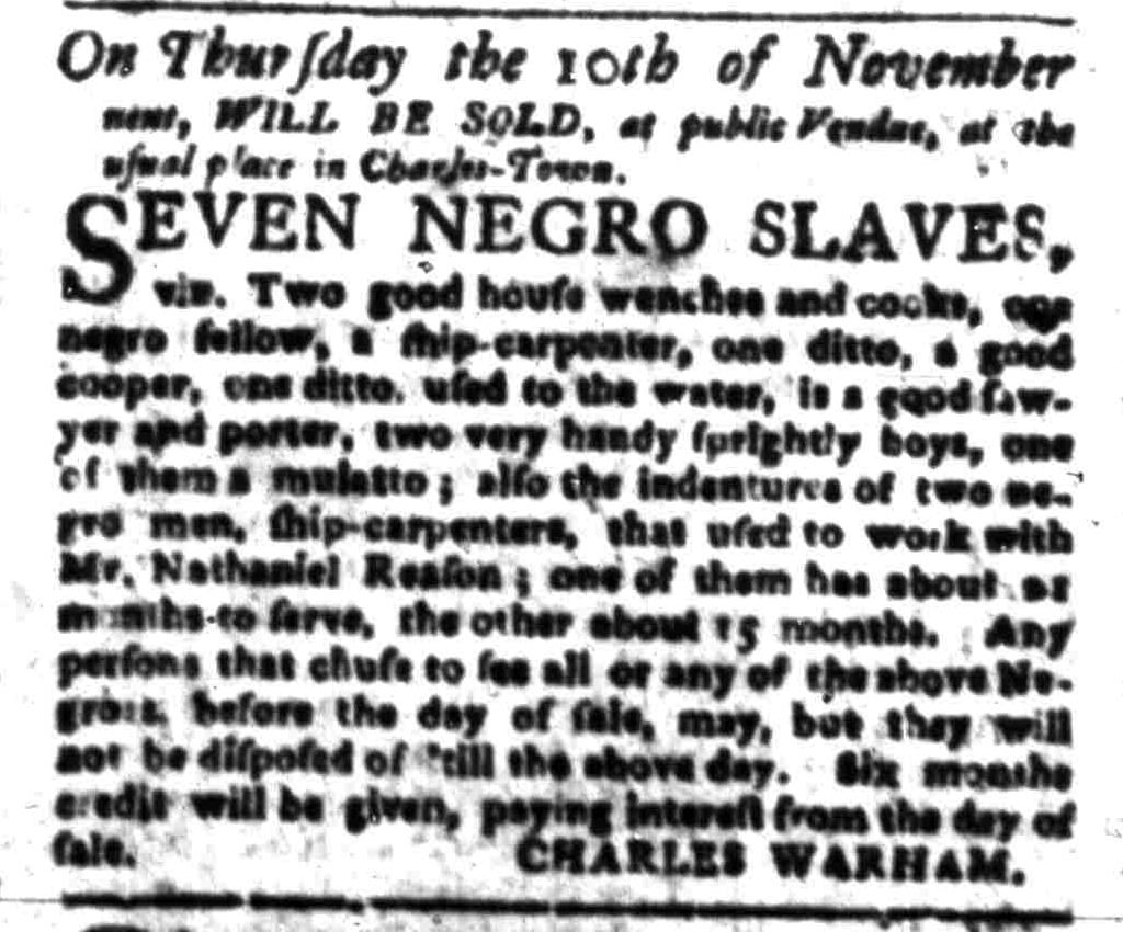 Oct 24 - South-Carolina Gazette Slavery 2