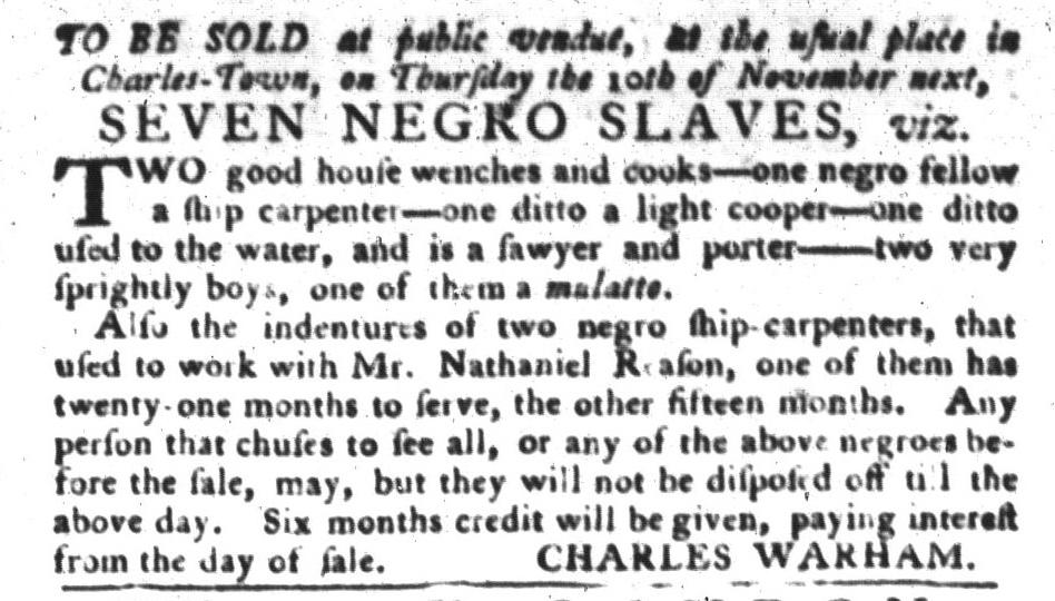 Oct 25 - South-Carolina Gazette and Country Journal Slavery 1