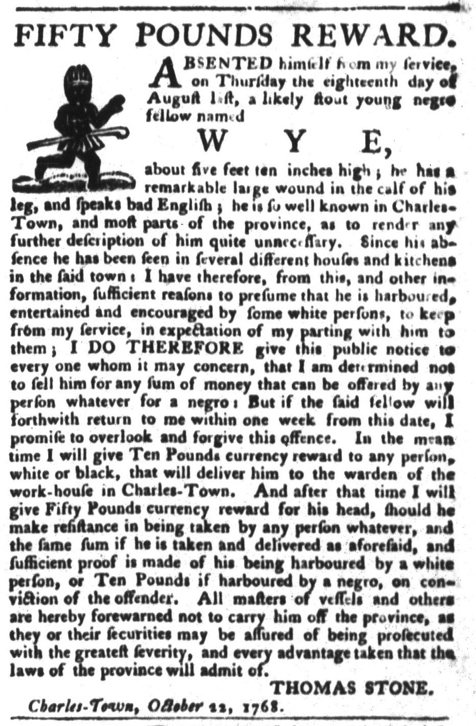 Oct 25 - South-Carolina Gazette and Country Journal Slavery 3