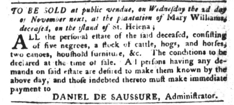 Oct 25 - South-Carolina Gazette and Country Journal Slavery 6