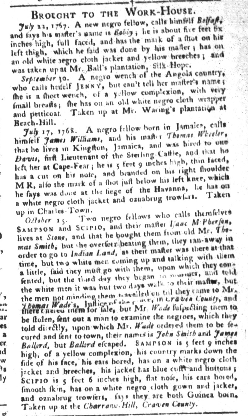 Oct 25 - South-Carolina Gazette and Country Journal Supplement Slavery 3