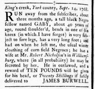 Oct 27 - Virginia Gazette Rind Slavery 11