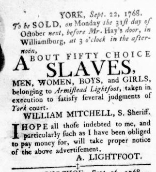 Oct 27 - Virginia Gazette Rind Slavery 4