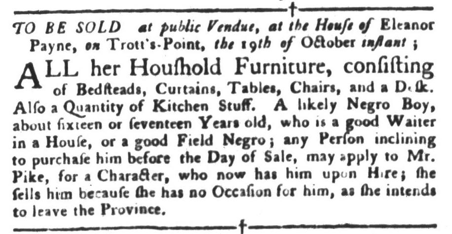 Oct 4 - South-Carolina Gazette and Country Journal Slavery 3