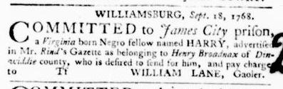 Oct 6 - Virginia Gazette Purdie and Dixon Slavery 5