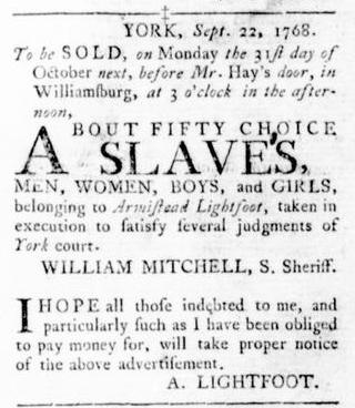 Oct 6 - Virginia Gazette Rind Slavery 6