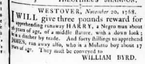 Dec 1 - Virginia Gazette Rind Slavery 6