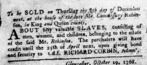 Dec 1 - Virginia Gazette Rind Slavery 8