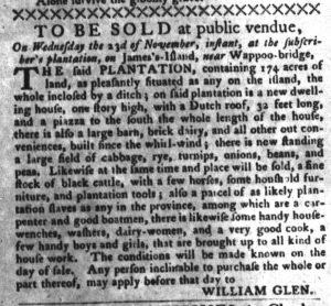 Nov 22 - South-Carolina Gazette and Country Journal Supplement Slavery 3