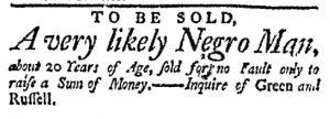 Nov 28 - Massachusetts Gazette Green and Russell Slavery 1