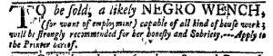 Nov 28 - New-York Gazette Weekly Mercury Slavery 2
