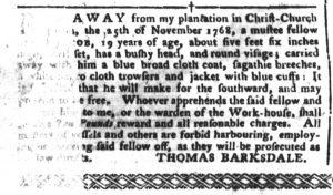Dec 6 - South-Carolina Gazette and Country Journal Slavery 1