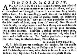 May 11 - Pennsylvania Gazette Supplement Slavery 1