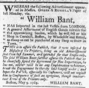 May 14 - 5:11:1769 Massachusetts Gazette Draper