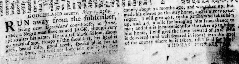 May 25 - Virginia Gazette Rind Slavery 1