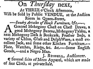 Jul 3 - Massachusetts Gazette Green and Russell Slavery 1