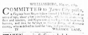 Jun 15 - Virginia Gazette Purdie and Dixon Slavery 6