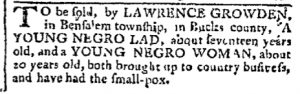 Jun 19 - Pennsylvania Chronicle Slavery 1