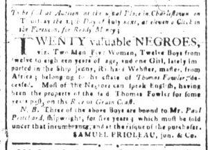 Jun 27 - South-Carolina and American General Gazette Slavery 1