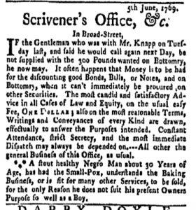 Jun 5 - New-York Gazette Weekly Mercury Slavery 1