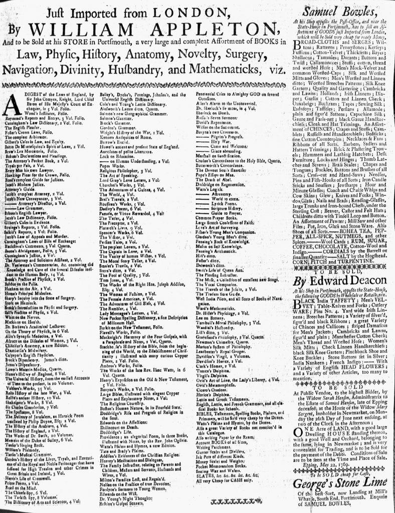 Jun 9 - 6:9:1769 New-Hampshire Gazette