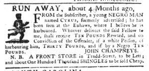 Aug 10 - South-Carolina Gazette Slavery 6
