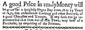 Aug 14 - Boston-Gazette Slavery 1