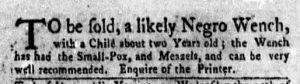 Aug 14 - New-York Gazette Weekly Mercury Slavery 2