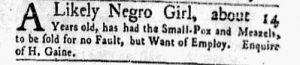 Aug 14 - New-York Gazette Weekly Mercury Slavery 3